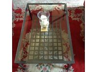 Two Black Metal Framed and Glass Topped Coffee Tables