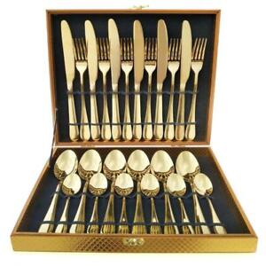 Flatware Set, Magicpro Modern Royal 24-Pieces gold Stainless Steel Flatware - BRAND NEW - FREE SHIPPING