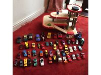 Toy wooden garage and cars