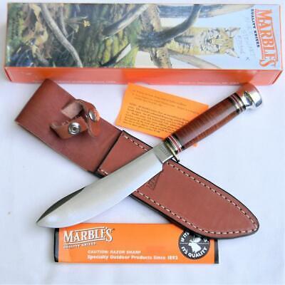 MARBLE'S USA 1999 large Northwoods Big Game Skinner knife, leather sheath; NIB