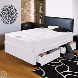 TOP QUALITY DOUBLE DIVAN BED WITH 9INCH THICK DEEP QUILTED MATTRESS- CALL NOW
