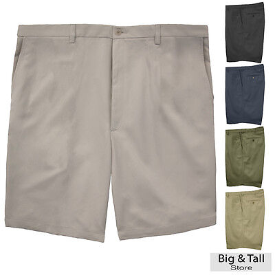 - Haggar Big & Tall Men's FLAT FRONT Casual Shorts Expandable Waist Sizes 44 - 60
