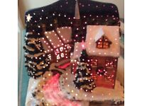 Fabric Optic Village Snowscape Scene Christmas Decoration