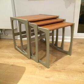 Upcycled Mid-Century Side Table Set