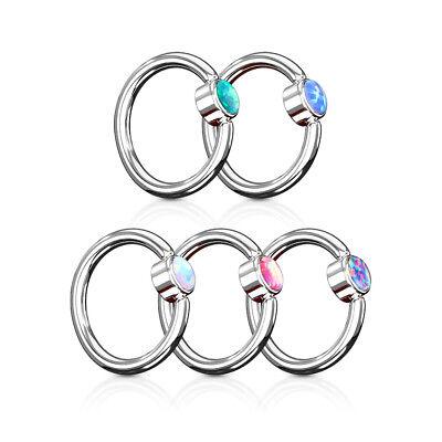5pc Opal Flat Back 316L Surgical Steel Captive Bead Rings Wholesale Body Jewelry Opal Flat Drop