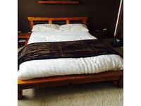 Wooden japanese style double bedframe with bedside tables
