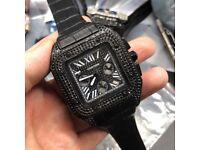 CARTIER SANTOS 100 XL BLACK DIAMONDS AUTOMATIC ICED AP AUDEMARS PIGUET ICED ROLEX CARTIER PATEK RM
