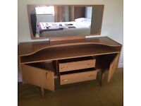 Vintage 70's retro style sideboard with mirror