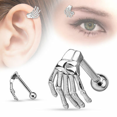 16G SKELETON HAND STEEL EAR TRAGUS CARTILAGE EYEBROW RING BODY PIERCING JEWELRY - Hand Skeleton