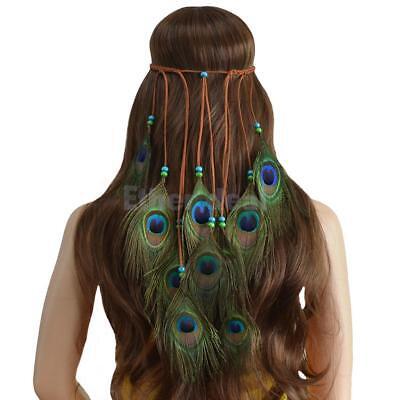 Handgemachte Ethnische Pfau Feder Stirnband Boho Lange Quaste Haarschmuck