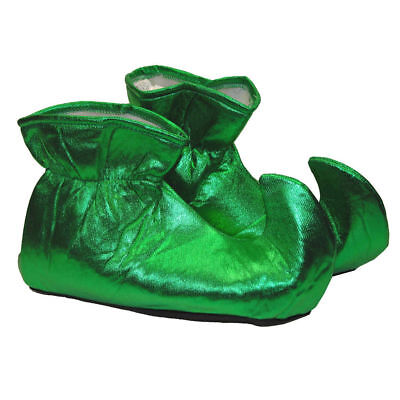Shiny Green Elf Shoes Christmas Adult Men Women Santa's Helper Costume Accessory - Mens Elf Shoes