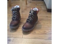 Brown ladies ankle boot size 5 with coloured trim