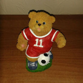 Football Bear Piggy Bank - NEW