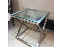 CHROME & GLASS SIDE TABLE // COLLECTION ONLY