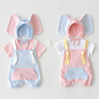 Baby Girl Boy Kid Sleeveless Romper +Cartoon Elephant Hat Costume Outfits Set