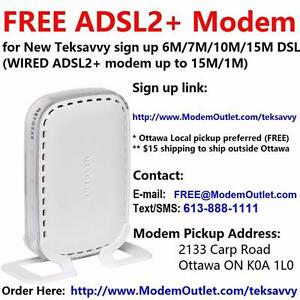 Free Netgear DM111P ADSL2+ Modem for Teksavvy 6M 7M 10M 15M/1M ADSL plans, free local pickup or $15 shipping out of town