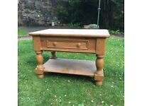 Old quality pine coffee table from Marks and Spencers with one drawer