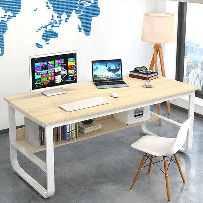 Wood Computer Desk Pc Laptop Table Workstation Study Home Office Furniture Beige