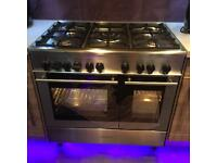 Kenwood brushed aluminium 900mm gas range oven cooker working - spares or repair