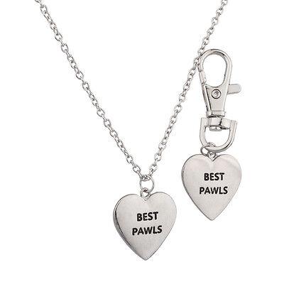 Lux Accessories Best Pawls Pals BFF Dog Collar Keychain Matching Owner