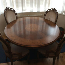 Carved & inlaid round solid wood table, beautiful surface + 4 chairs