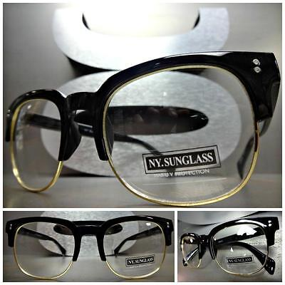 CLASSIC VINTAGE 50's RETRO Style Clear Lens EYE GLASSES Unique Black Gold Frame](50s Style Glasses)