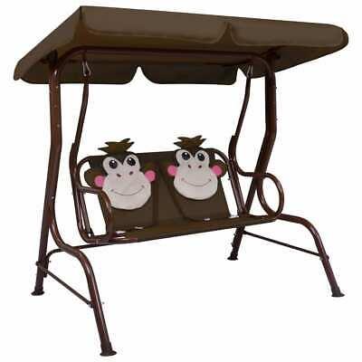 vidaXL Kids Swing Bench Brown Fabric Outdoor Garden Hammock Chair Seating