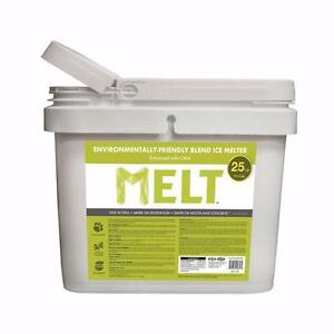 New, MELT 25 Lb. Bucket Premium Environmentally-Friendly Blend Ice Melter w/ CMA
