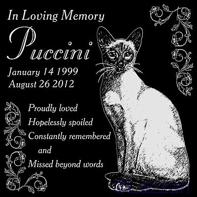 "Personalized Siamese Cat Pet Memorial 12"" Custom Granite Grave Marker Headstone"