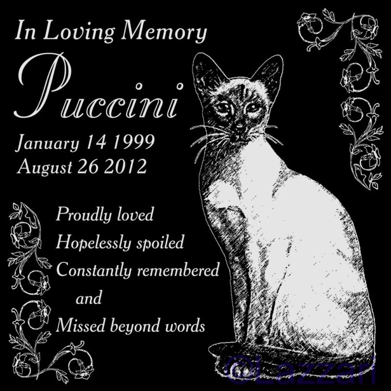 "Personalized Siamese Cat Pet Memorial 12"" Custom Granite Grave Marker Headstone"