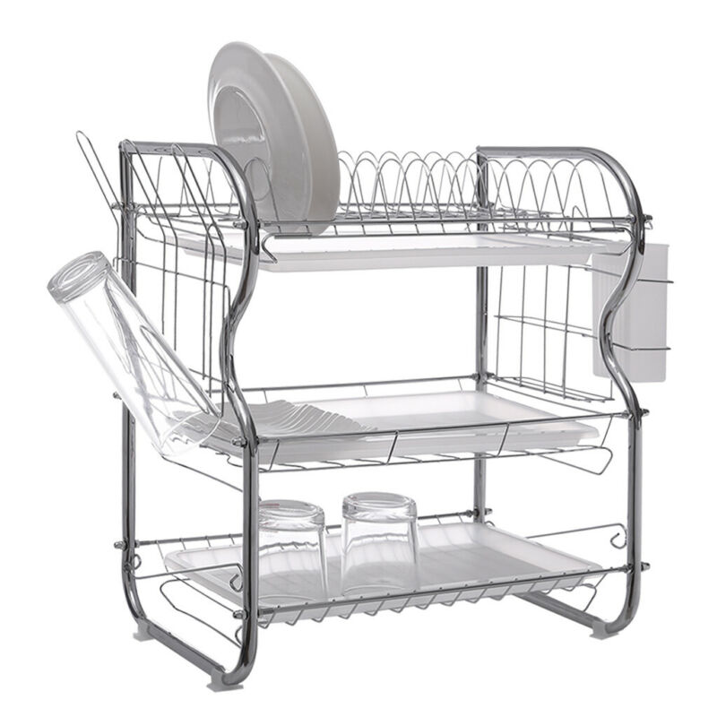 3-Tier Dish Drying Rack Stainless Steel Over-the-Sink Kitche