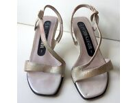 Peter Kaiser Strappy Nude Leather Sparkle Kitten Heel Sandals - Size 2 Extra Small