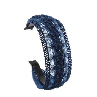 Blue Lace Floral Embroidery Wide Alice Band Headband Hairband for - Lace Headbands For Adults