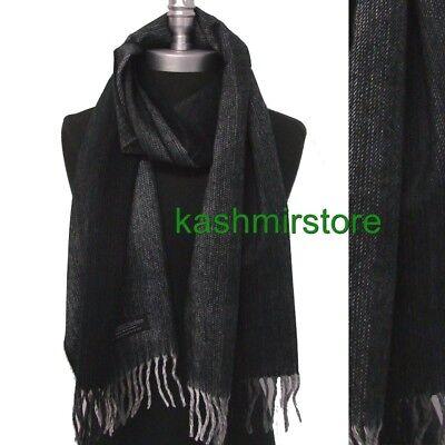 New Men's 100%CASHMERE SCARF Scotland Warm Wool Soft Wrap Tweed Black / Gray
