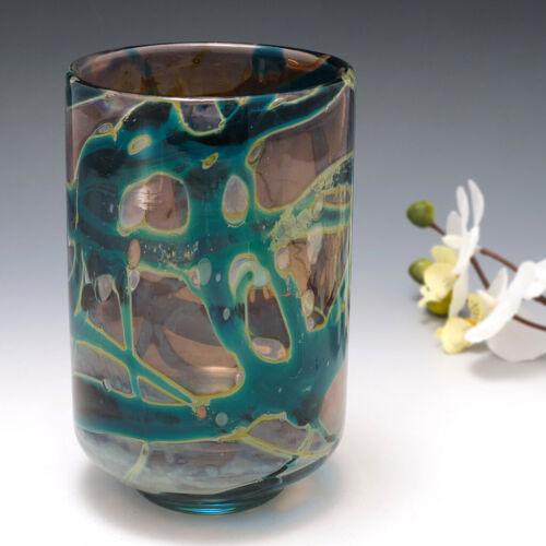 A Mdina Indigo Vase with Silver Chloride Streaks 1970