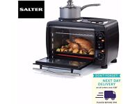 NEW SALTER 28L MINI TOASTER OVEN 1500W WITH 2 X HOTPLATE HOBS 1000W 100‒230oC BLACK …