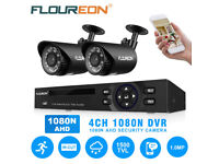 NEW BOXED Floureon 4CH 5IN1 AHD 1080N DVR CCTV Home Security 1500TVL 720P IP Camera System Kit IP66