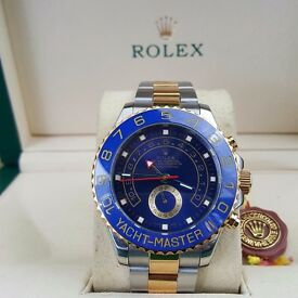 New TwoTone Rolex Yachtmaster II with Blue Bezel and Blue Face Comes Rolex Bagged And Boxed