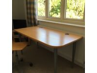 Table Beech Veneer with removable steel legs and Chair