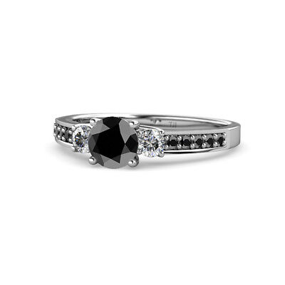 Black & White Diamond 3 Stone Ring with Side Black Diamond 1.60 cttw in 14K (Engagement Rings With Black Diamond Side Stones)