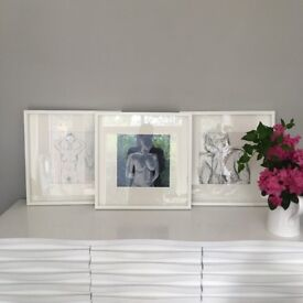 Three 53cms x 53cms frames with original life drawings