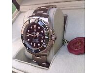 New Mens bagged and boxed silver bracelet with black face green bezel Rolex submariner 50th anniver