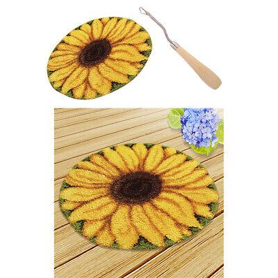 2x Sunflower Pattern Latch Hook Rug Making Kit Tool DIY Rug Carpet Ornaments 2 Latch Hook Pattern