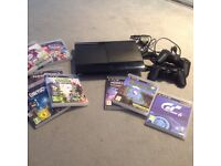 Play station 3 slim/black plus games & controllers