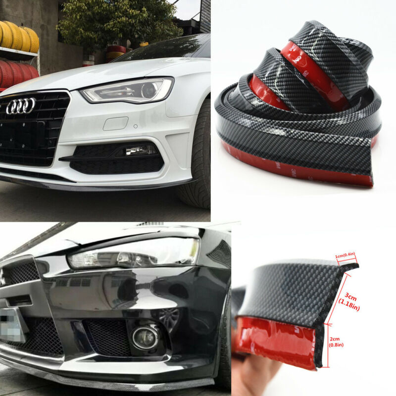 2.5m Car Front Bumper Carbon Fiber Lip Splitter Chin Spoiler Trim Protection Pad