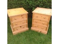 2 X BEDSIDE DRAWERS 2 X SOLID RUSTIC PINE BEDSIDE DRAWERS PINE DRAWERS