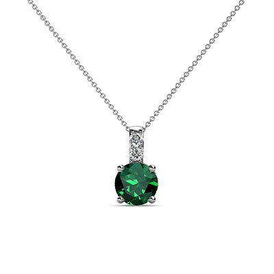 Emerald and Diamond (SI2-I1, G-H) Necklace 0.76 ct tw in 14K Gold JP:79075 ()