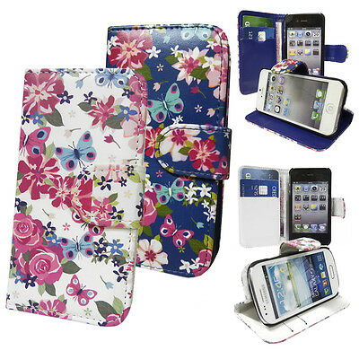 Floral flower Butterfly Wallet Case / Media Stand Case for Various Mobile Phones Media Wallet Case