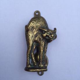 Vintage witches cat brass door knocker