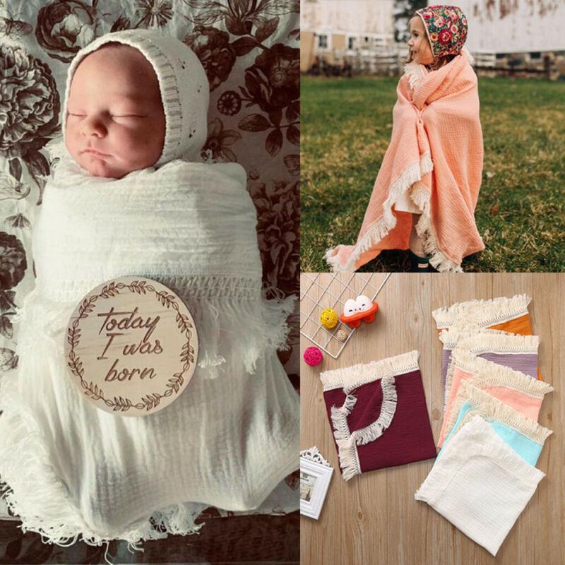 Muslin Newborn Solid Tassel Baby Swaddle Blanket Receiving B
